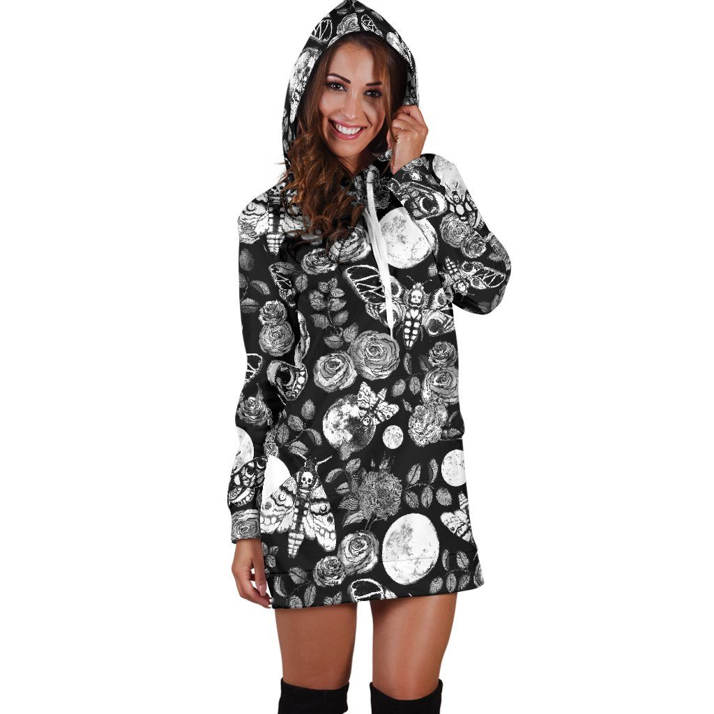 Enchanted Night -  Black n' White hoodie - dress