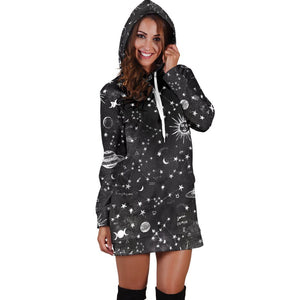 Astrology map - Black hoodie dress