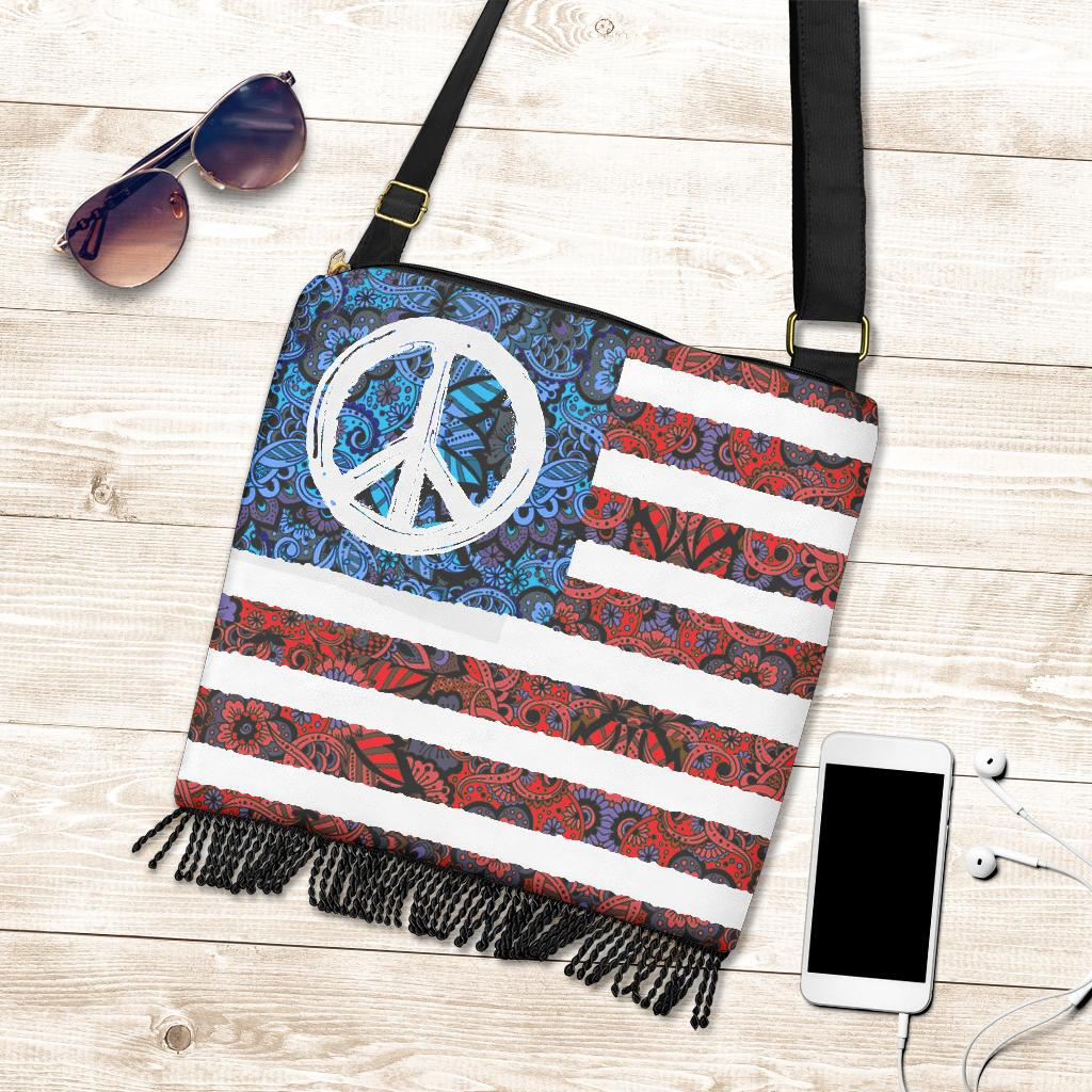 American Peace Flag - Boho Cross-body Bag