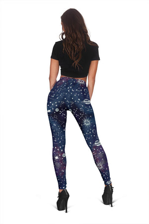 Astrology map blue leggings