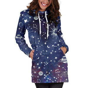 Astrology map - Blue hoodie dress
