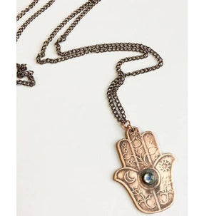 Etched Hamsa Necklace