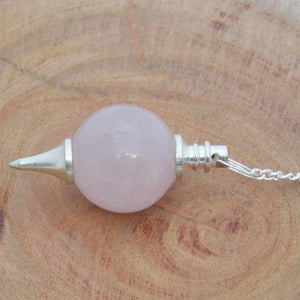 Rose quartz sphere pendulums