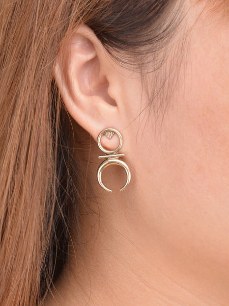 Boho moon stud earrings