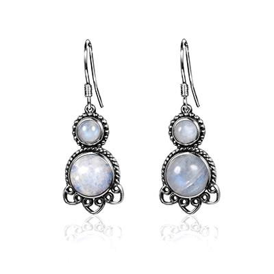 Double Moonstone Drop Earrings