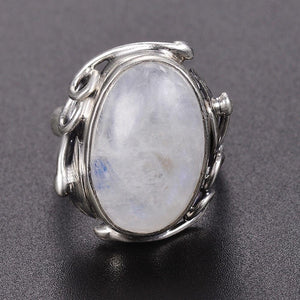 Vintage Decorated Oval Moonstone Ring