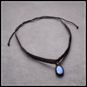 Black Braided Rope Choker with Natural Stone