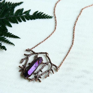 Wicca Amethyst Crystal Branch Pendant Necklace