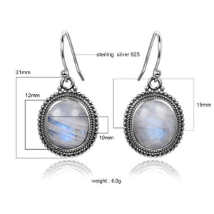 Oval Moonstone Drop Earrings Sterling Silver