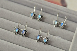 Natural Moonstone Stud Earrings Sterling Silver