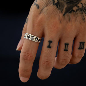 Norse Rune Adjustable Silver Ring
