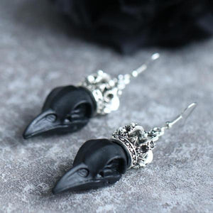 Gothic Crowned Raven Earrings