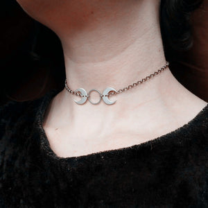 Triple Moon Goddess Choker