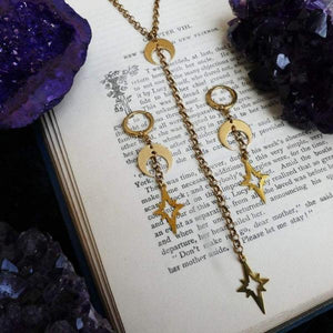 Witchy Moon & Stars Necklace and Earrings Set