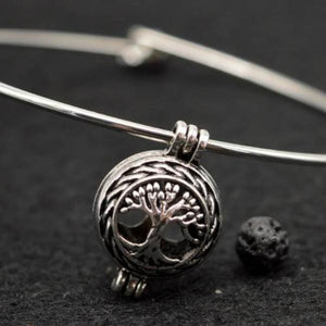 Tree of Life Lava Locket Essential Oil Diffusing Bangle Bracelet