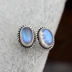 Oval Moonstone Stud Earrings Sterling Silver