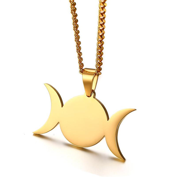 Triple Moon pleated necklace.