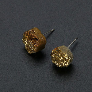 Natural druzy stone stud earrings