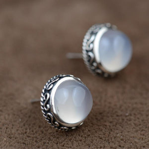White chalcedony gemstone stud earrings - sterling silver.