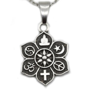 Coexist Icons Lotus Pendant Necklace