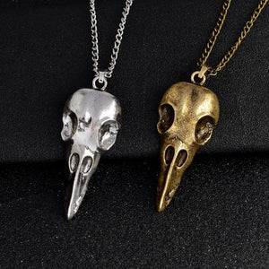 Nordic viking raven skull pendant necklace