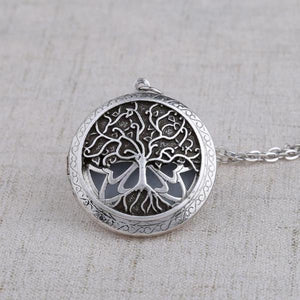 Tree of Life Essential Oil Diffuser Locket Necklace