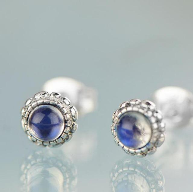Moonstone stud earrings - sterling silver.