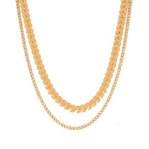 Double Layer Chevron Chain Choker