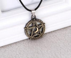 Crescent Moon Pentacle Necklace