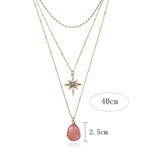 Multi Layer Northen Star and Quartz Crystal Necklace