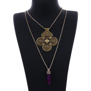 Vintage double layer ethnic necklace