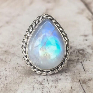 Moonstone healing crystal ring