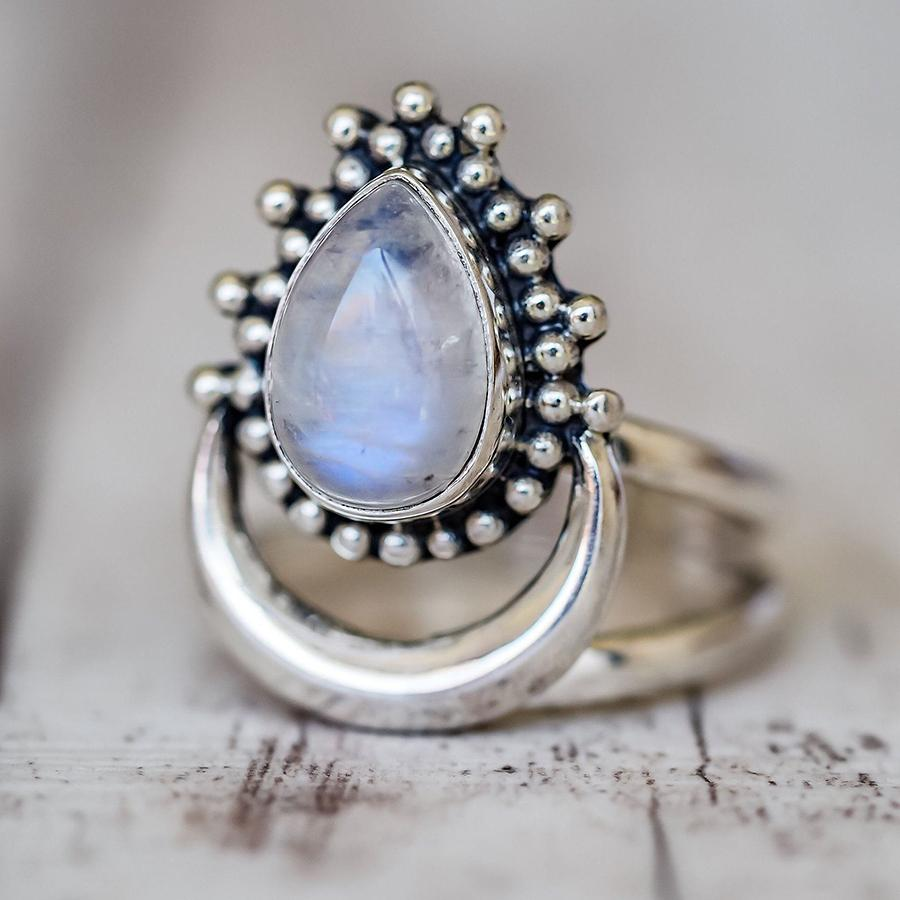 Half moon marquise moonstone ring