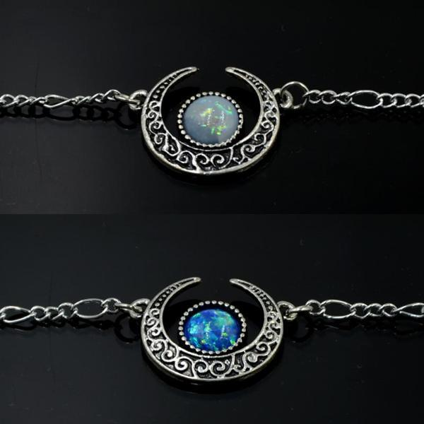 Crescent moon necklace with opal stone
