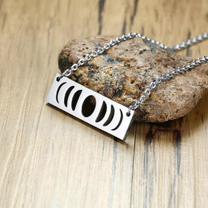 Lunar moon phase bar necklace
