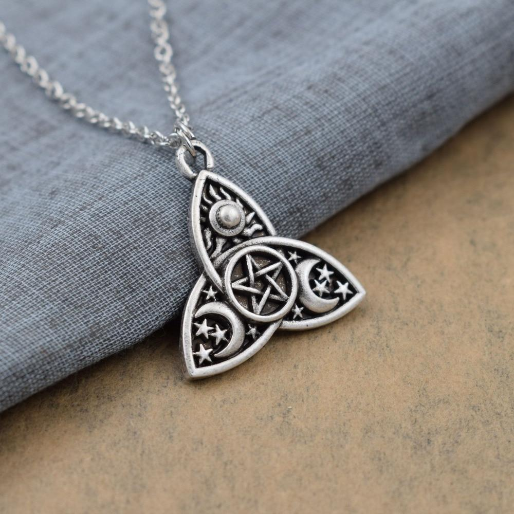 Triple Moon Goddess Triquetra Necklace