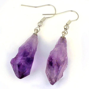 Raw Amethyst Dangle Earrings