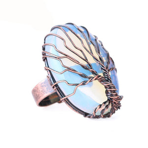 Crystal Stone Wire Wrapped Tree of Life Ring