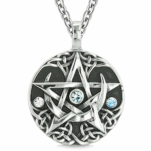 Magic Pentacle with Blue Stones Pendant Necklaces
