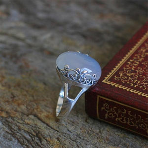 White moonstone vintage ring