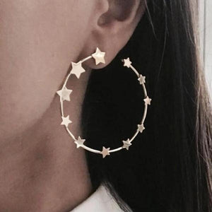Star Stud Hoop Earrings