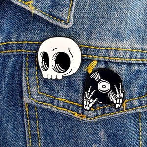 DJ Skull Enamel Pin Set