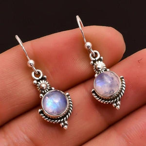 Dangle Drop Moonstone Earrings
