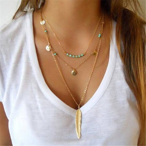 Feather beaded necklace