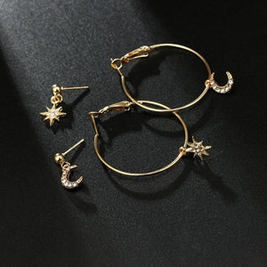 Bohemian Moon Star Rhinestone 4pcs/set Earrings