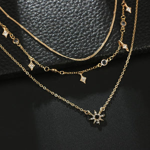 Elegant Stars with Rhinestone Layered Necklace