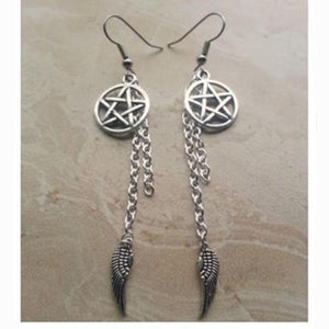 Pentagram and Angel Wing Charm Earrings