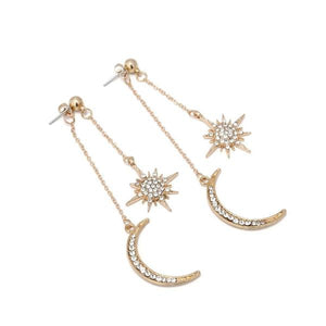 Rhinestone Star & Crescent Moon Drop Earrings