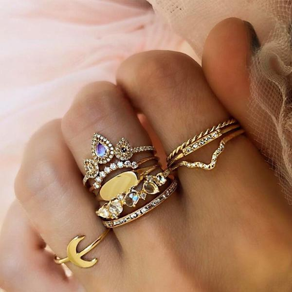 9pcs Exquisite Moon Bohemian Ring Set