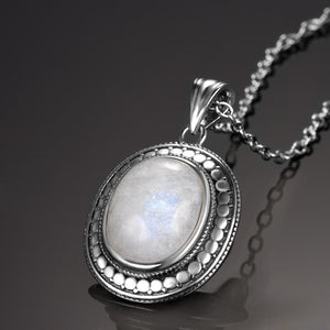 Vintage Natural Moonstone Pendant Necklace